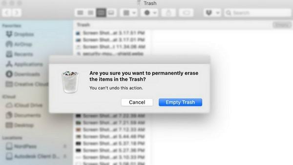 empty trash on mac