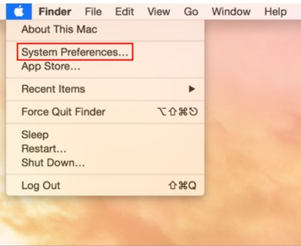 apple menu and system preference
