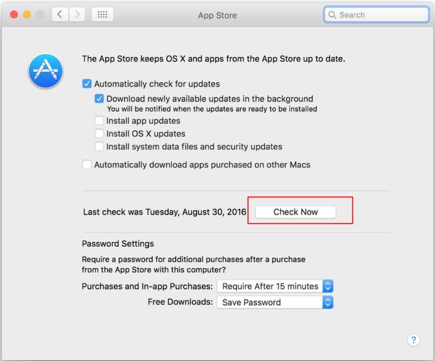 check update on Mac
