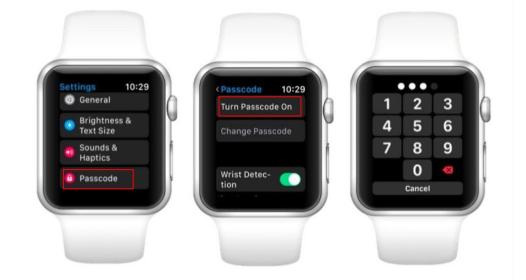 turn passcode on apple watch