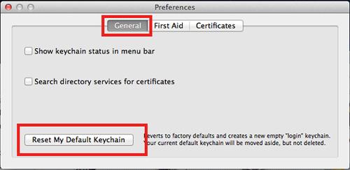 default keychain