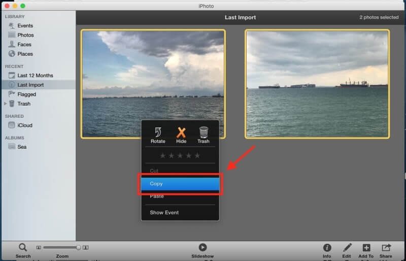 copy images with iphoto