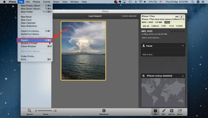 export compress images from iphoto
