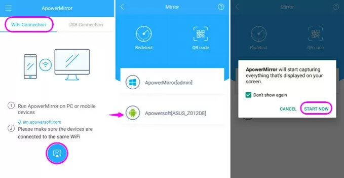 mirror from android to android with apowermirror