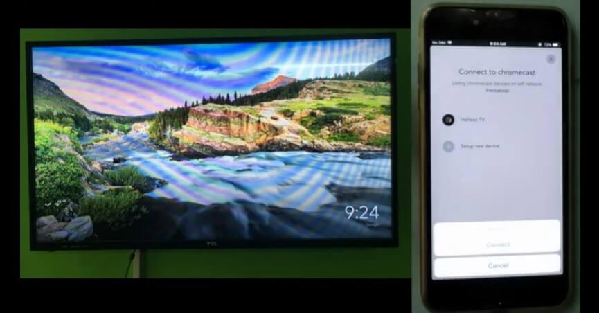 mirror iphone to tv with google chromecast