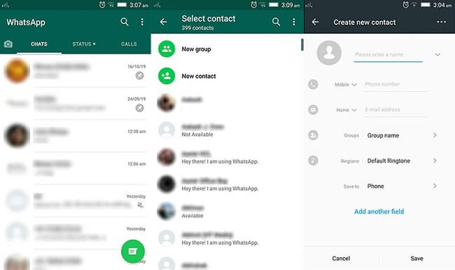 new contact whassapt android