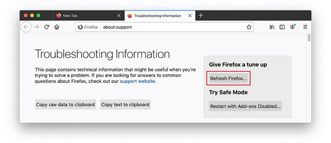 refresh firefox to delete search marquis