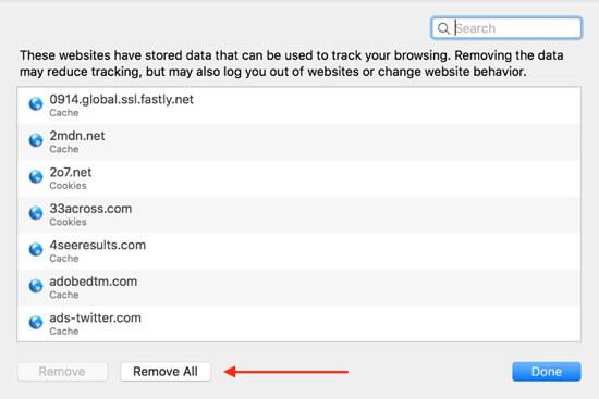 remove all safari data