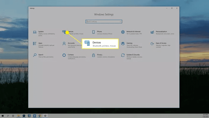 windows devices settings