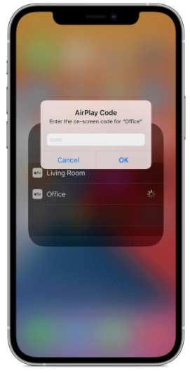 AirPlay passcode appears on the TV screen