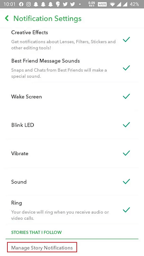 manage story notifications