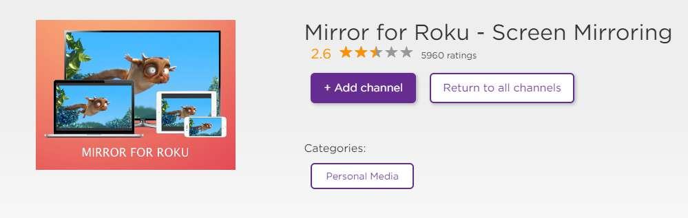 mirror for roku screen mirror