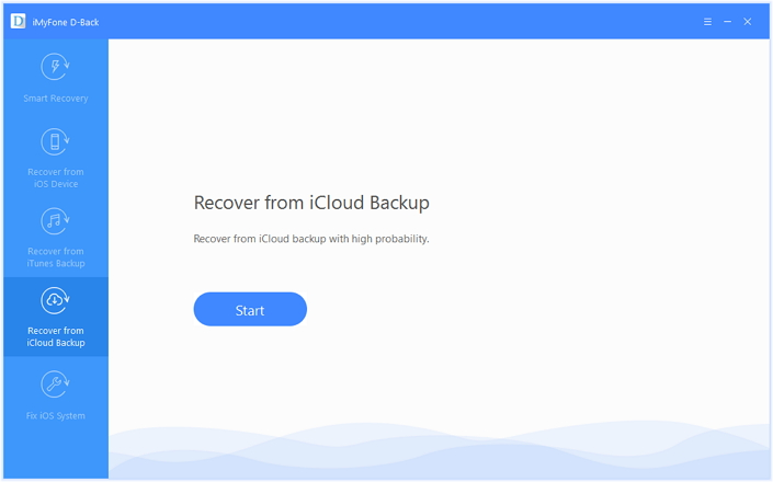 select the 'Recover from iCloud Backup option