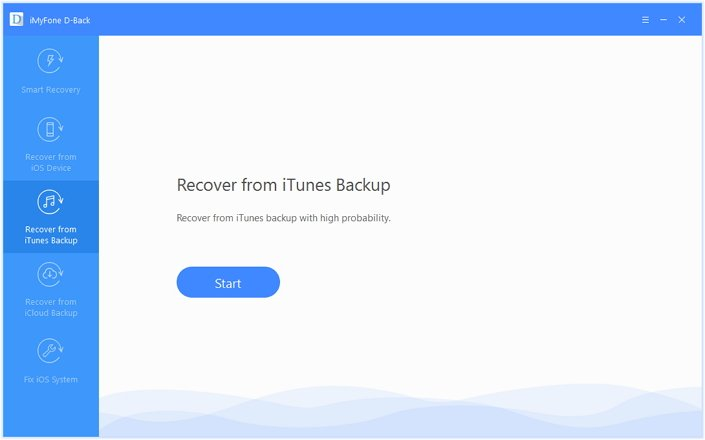 "select ""Recover from iTunes Backup"""