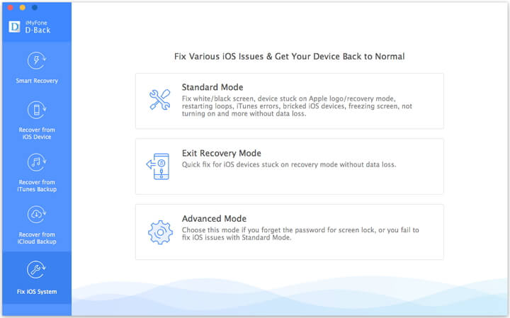 Choose the Fix iOS System option