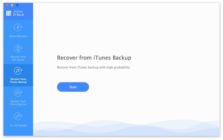"""choose """"Recover from iTunes Backup"""""""