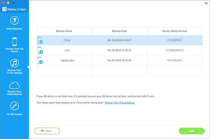 4. Select iTunes Backup