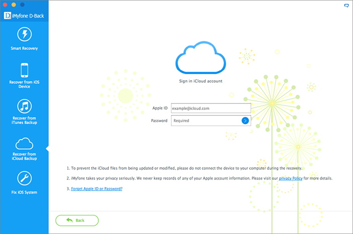 5. Log in iCloud Account