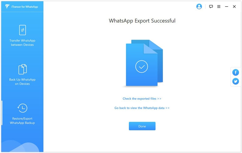 WhatsApp export successful
