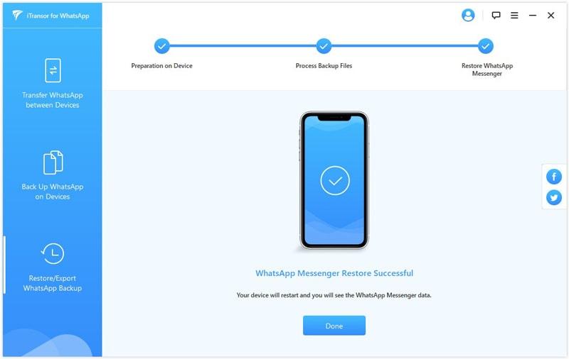 WhatsApp restore successful