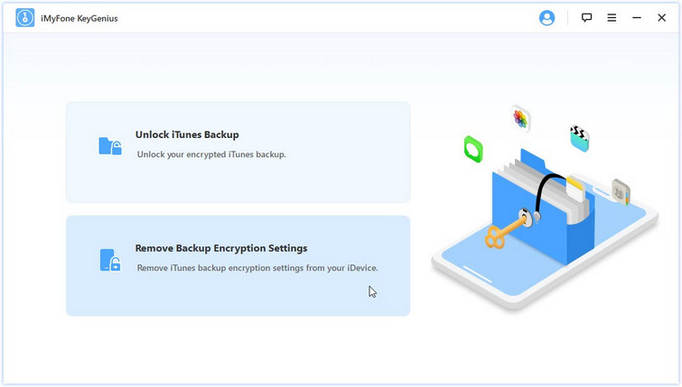 select remove backup encryption settings