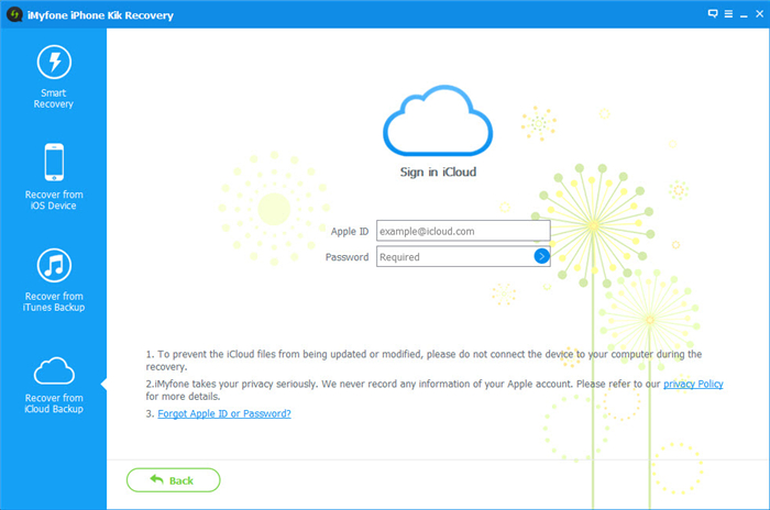 Sign in with your iCloud account