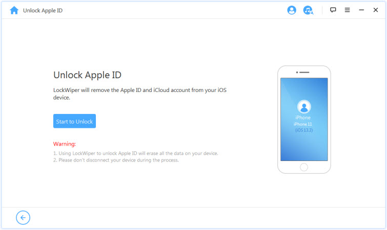 start to unlock apple id with iMyFone LockWiper