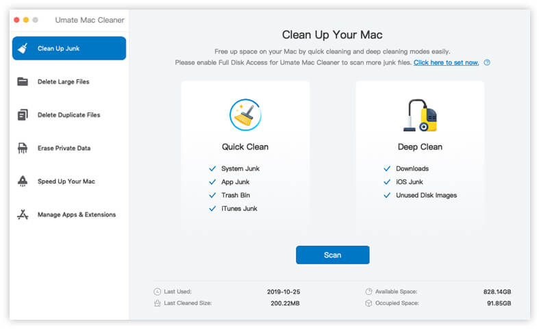 umate mac cleaner cleanup feature