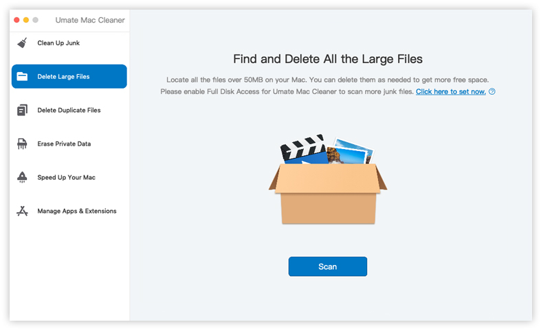 umate mac cleaner delete large files feature