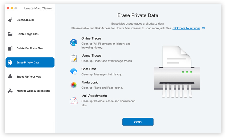 umate mac cleaner erase private data feature