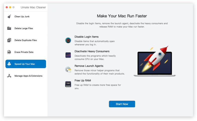 umate mac cleaner speed up feature