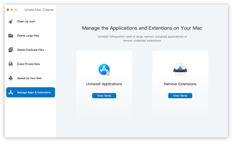 umate mac cleaner app and extension management feature