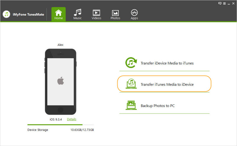 Click Transfer iTunes Media to iDevice