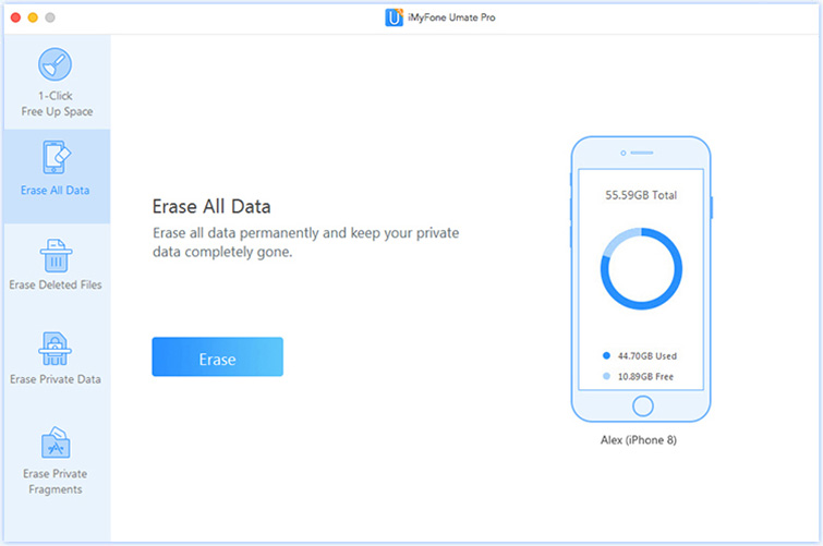 click Erase all data tab