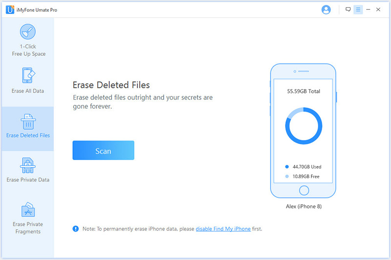 erase deleted data