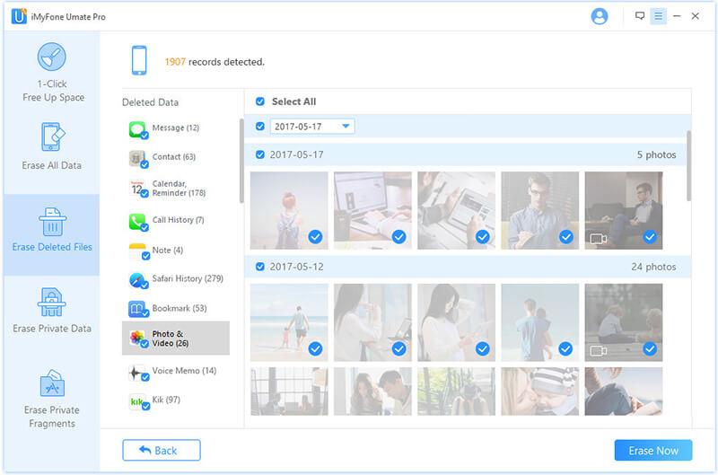 click erase after deleted files scanning