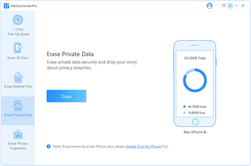 choose erase mode to erase data on iphone