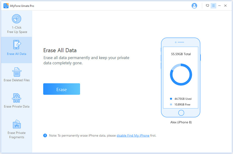 choose erase all data tab