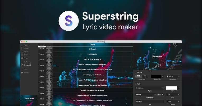 Superstring lyric video template