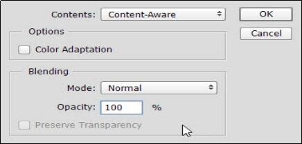 activate content aware fill tool