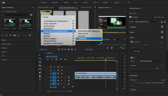 add the denoise effects premiere pro