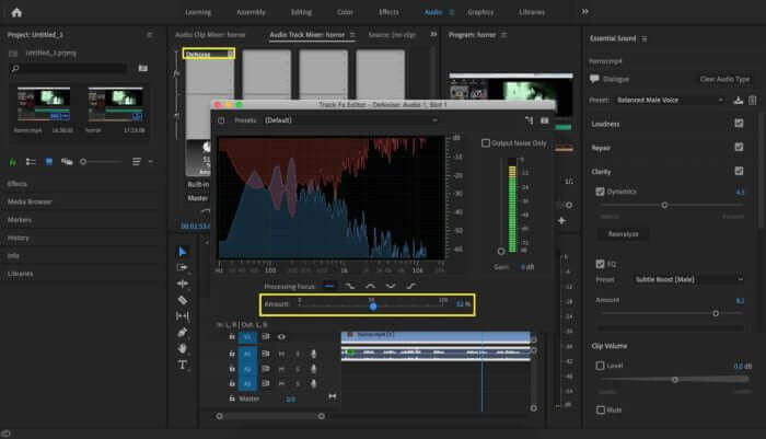 add the dereverb effects premiere pro