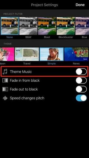 add theme music to imovie on ios