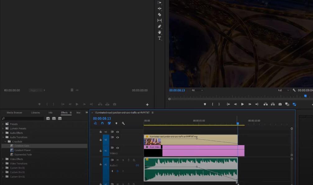 adjust keyframe for fade effect in premiere