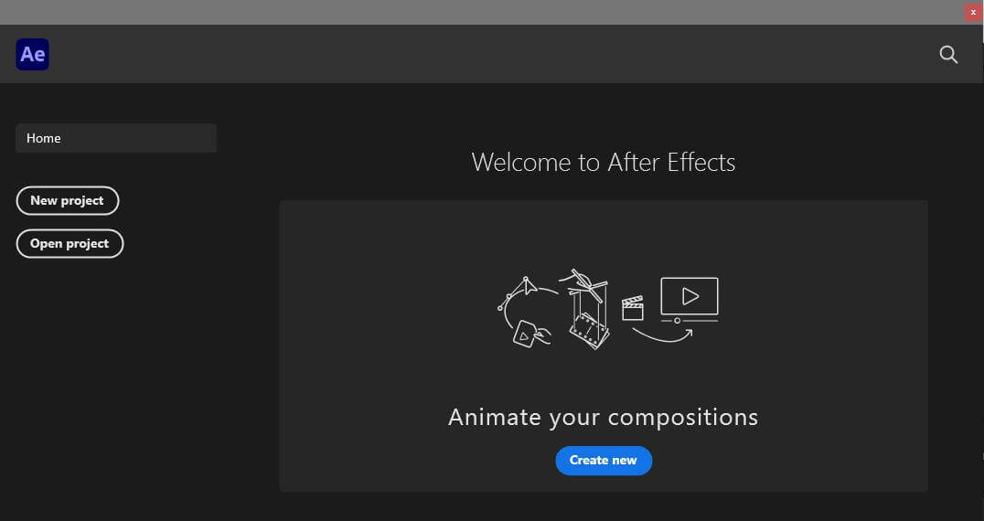 adobe after effects new project