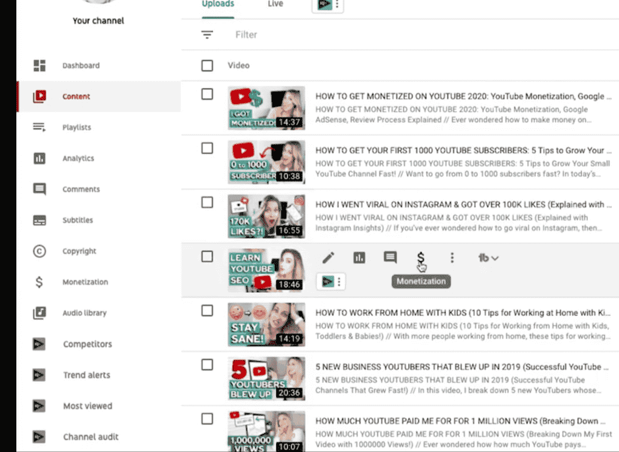 Youtube video selection