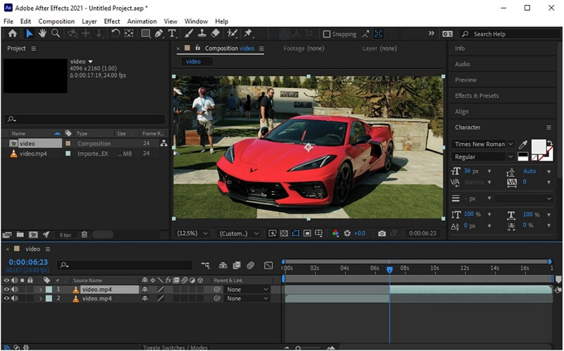 after effects cut video