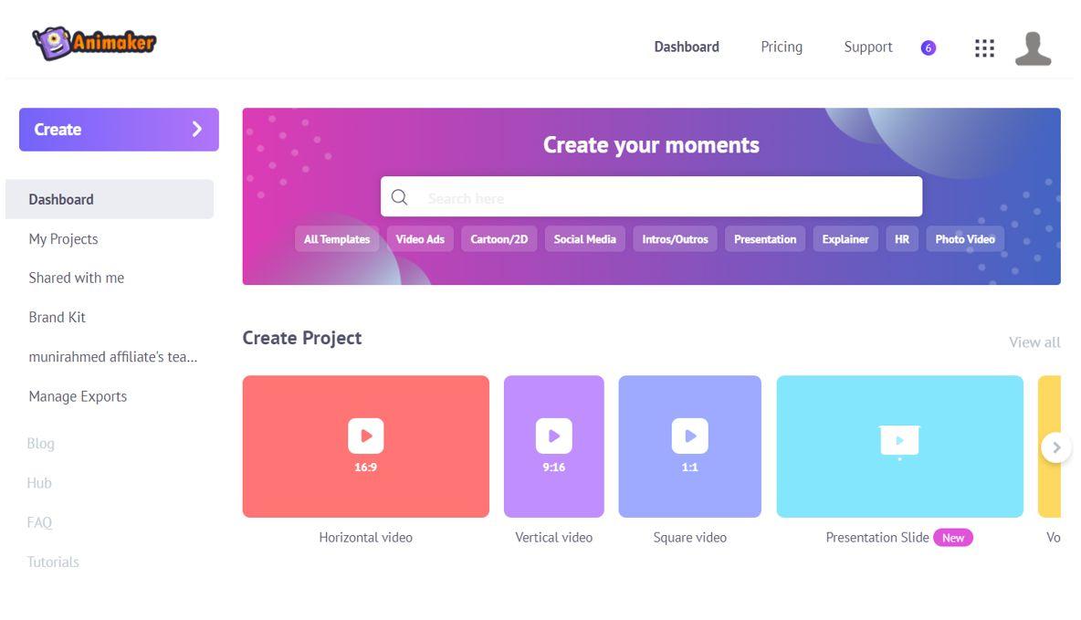 animaker create project