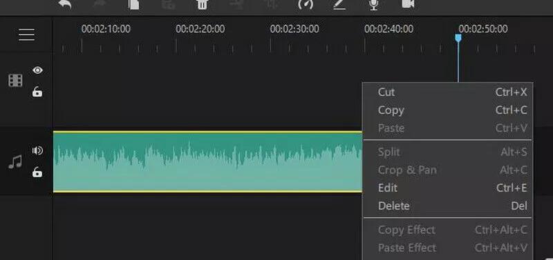 audio editing options filme