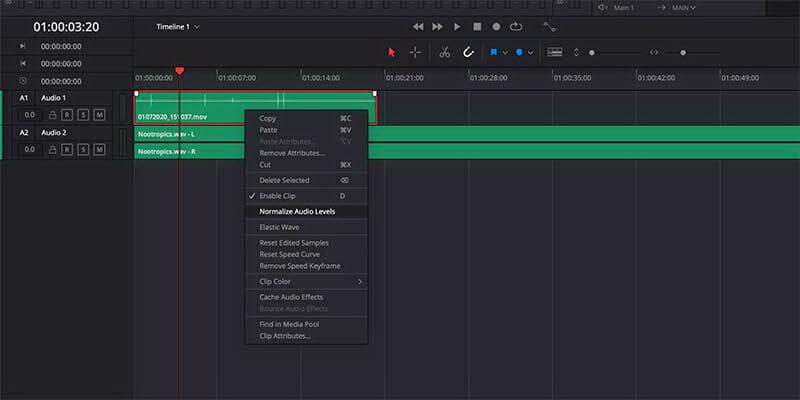 davinci resolve audio edit feature